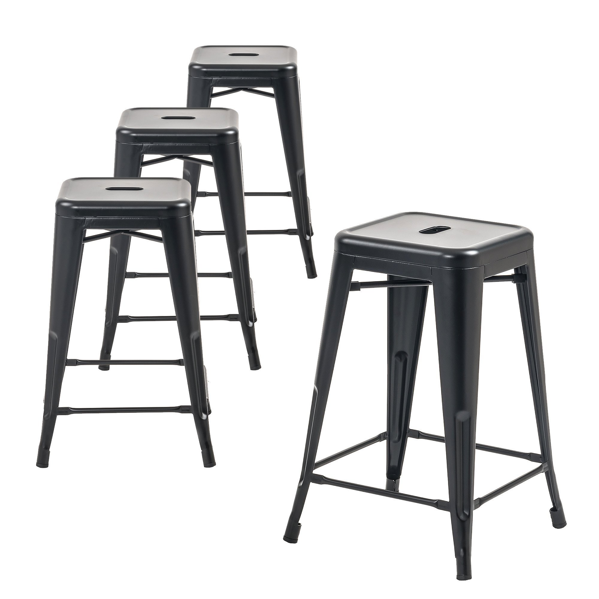 Buschman Metal Bar Stools 24'' Counter Height, Indoor/Outdoor and Stackable, Set of 4 (Matte Black) by Buschman Store