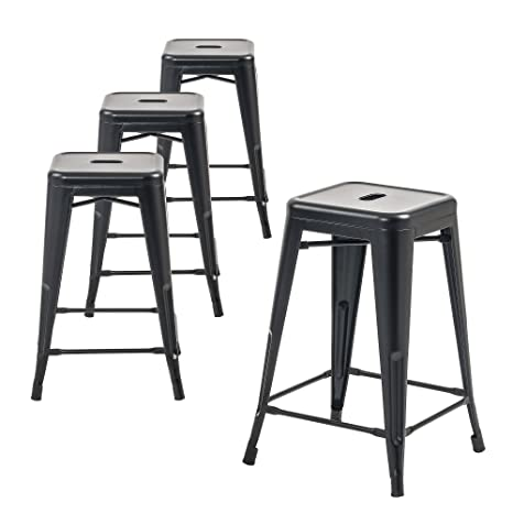 Pleasant Buschman Metal Bar Stools 24 Counter Height Indoor Outdoor And Stackable Set Of 4 Matte Black Ibusinesslaw Wood Chair Design Ideas Ibusinesslaworg
