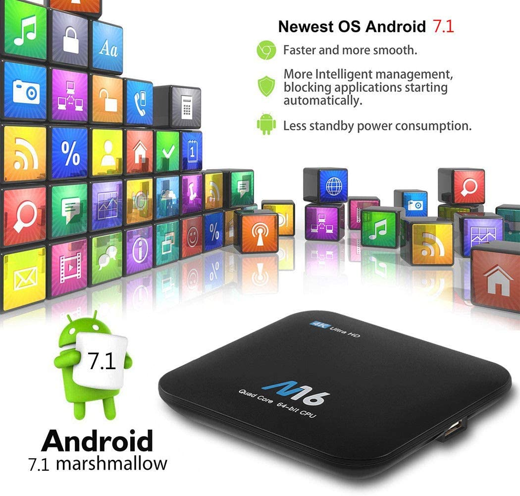 TV Box Android 7.1, S905X M16 Smart TV Box 4K Quad Core 【1G RAM + 8G ROM】 hasta 32GB HDMI 2.0: Amazon.es: Electrónica