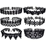 6pcs Black Lace Floral Choker Punk Gothic Tattoo Necklace for 80s 90s Women Girls