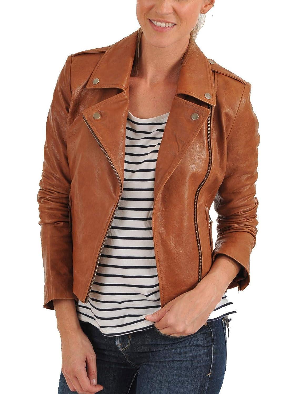 Tan Aaron Craft Women's Lambskin Leather Bomber Biker Jacket