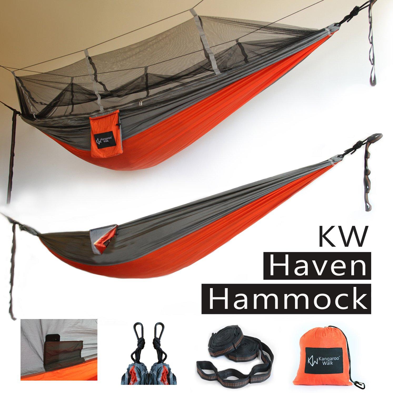 Haven Hammock byカンガルーWalk •すべて1つのバンドルwith簡単セットアップ• Mosquito Net保護オプション•品質ポータブル&軽量ツリーキャンプハンモック•新しい製品、限定特別価格 B0756ZHS7R Comfortable Single|Sun Orange + Grey Sun Orange + Grey Comfortable Single