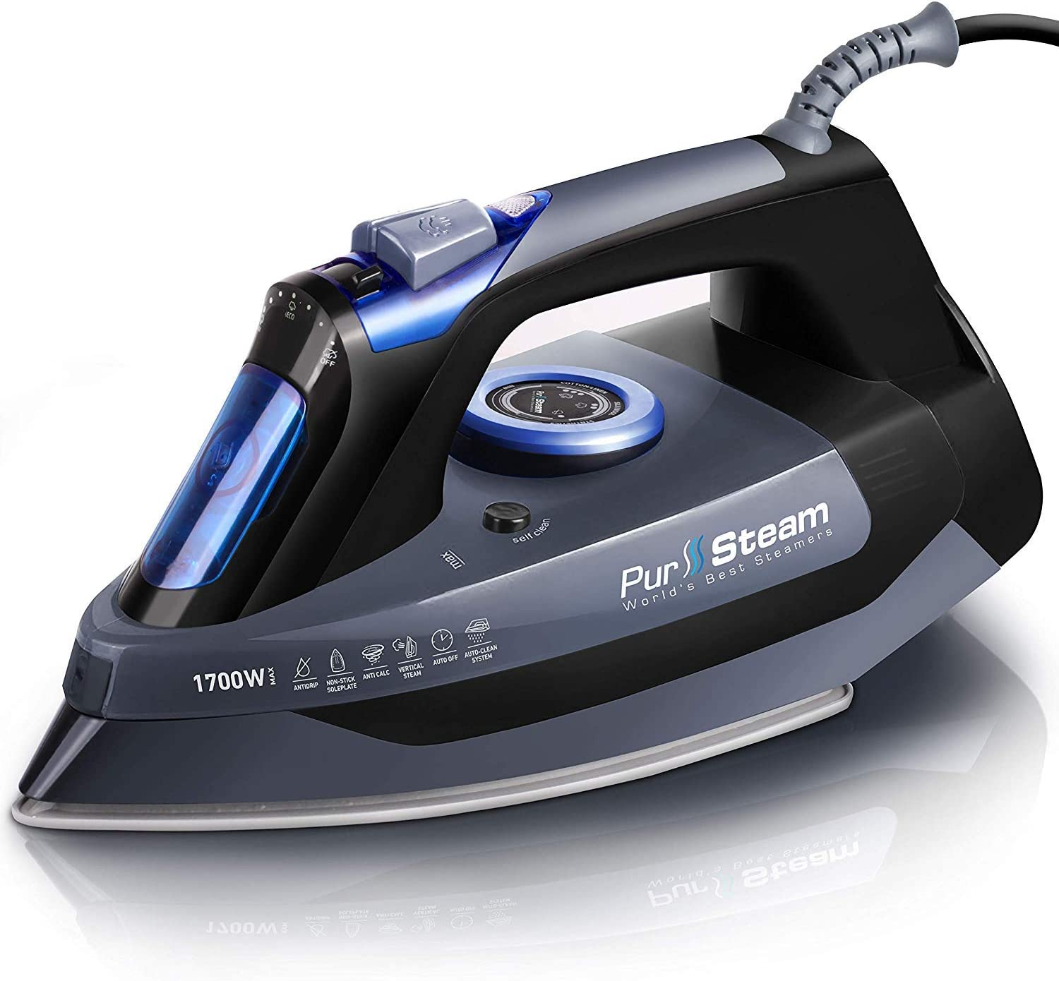 Professional Grade 1700W Steam Iron for Clothes with Rapid Even-Heat Scratch Resistant Stainless Steel Sole Plate, True Position Axial Aligned Steam Holes, Self-Cleaning Function Image