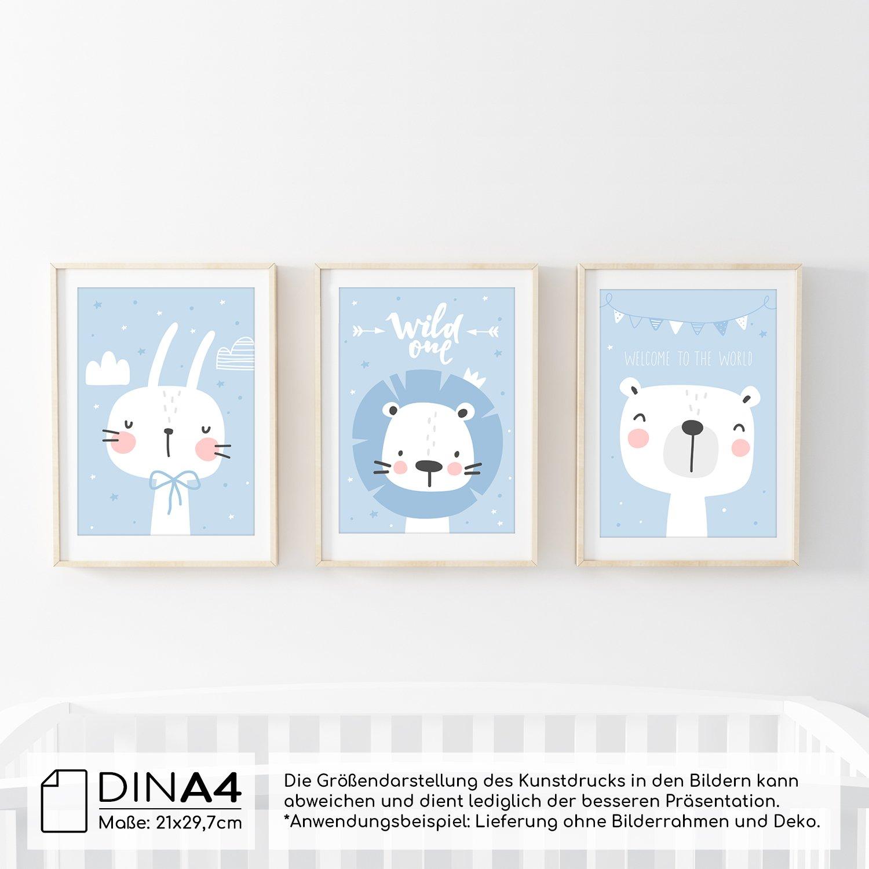 frechdax 3er Set Kinderzimmer Poster Babyzimmer Din A4 Ohne ...