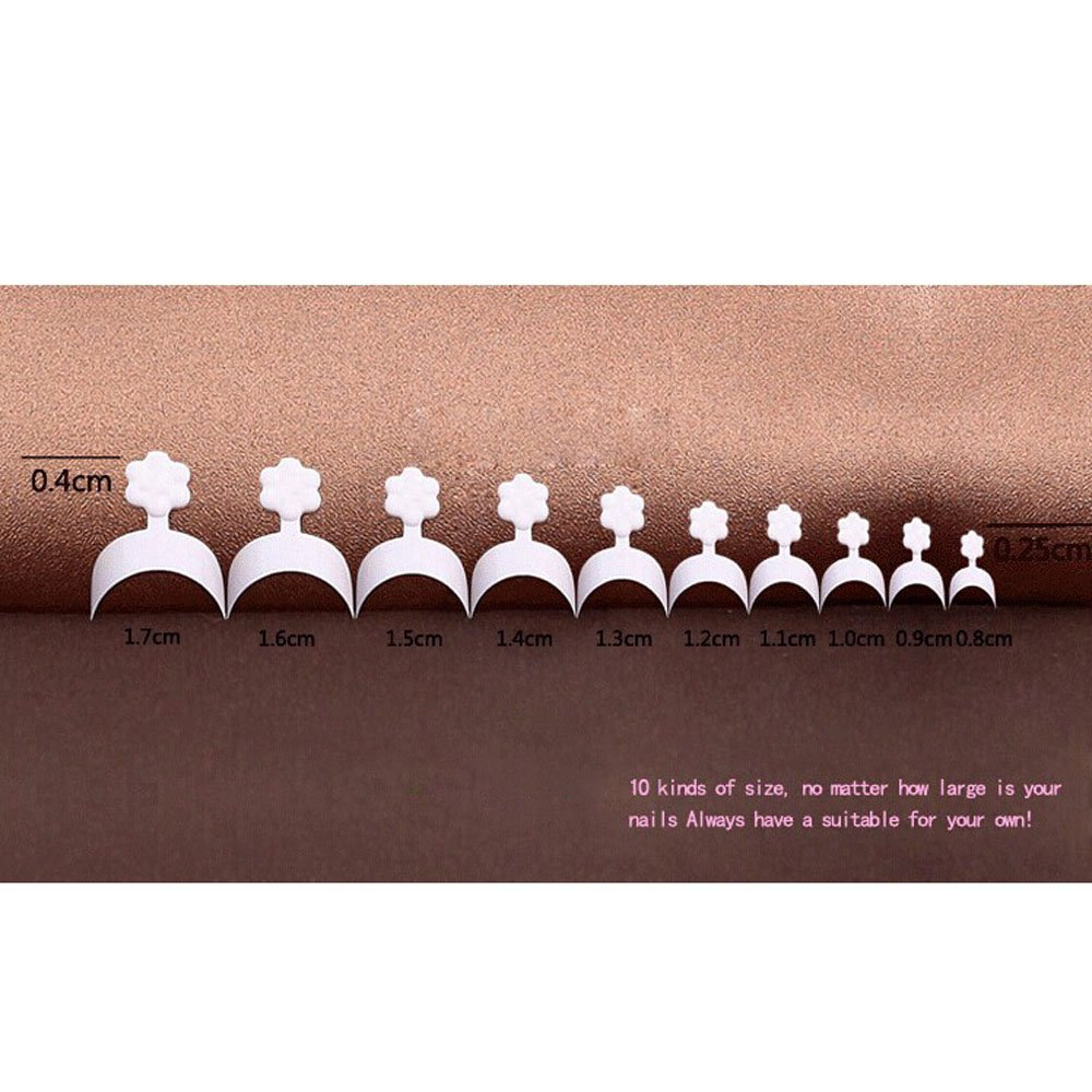 Anself 500pcs Uñas Postizas de Acrílico para Manicura Arte de Uñas,Color Blanco