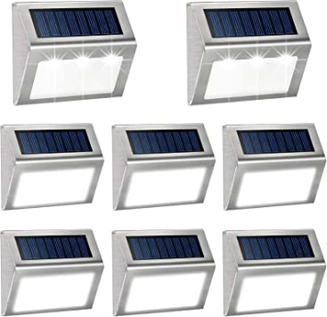 Solar Fence Lights,Mini Solar Step Lights Outdoor Waterproof Solar Powered LED Deck Lighting Outdoor Decorative for Wall,Patio,Deck,Stairs Walkway 6 Pack Warm White Garden