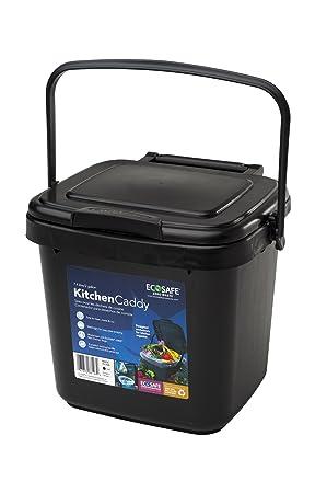 EcoSafe KCBLK Cubo de basura, para desperdicios de alimentos, plástico, 7 litros,