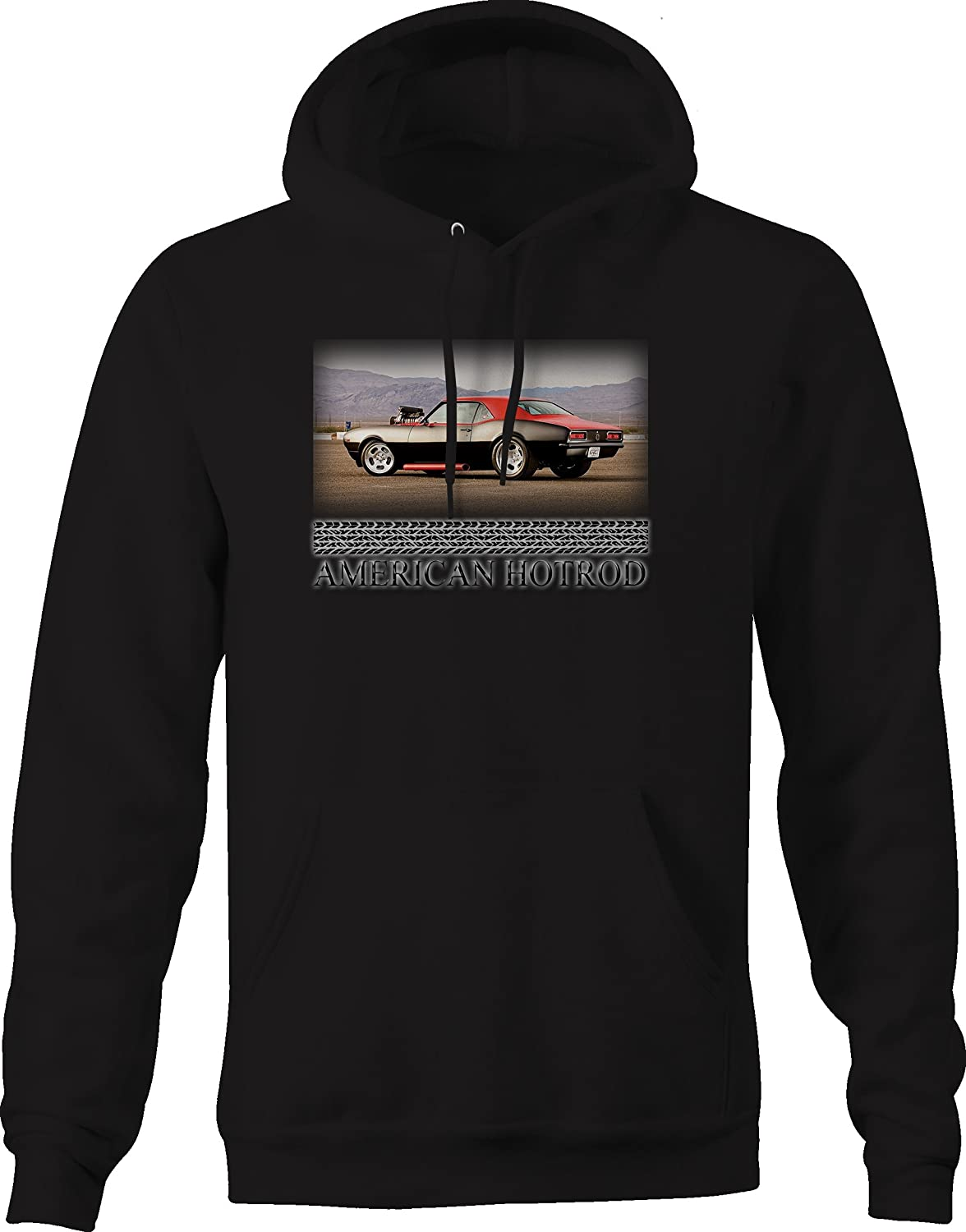 Bold Imprints American Hotrod Muscle Car Camaro Racing Blower Sidepipes Graphic Hoodie for Men