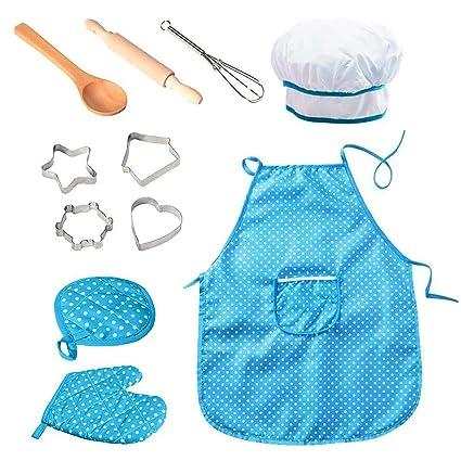 KOBWA - Set de Cocina para niños (11 Piezas, Disfraz de Chef ...