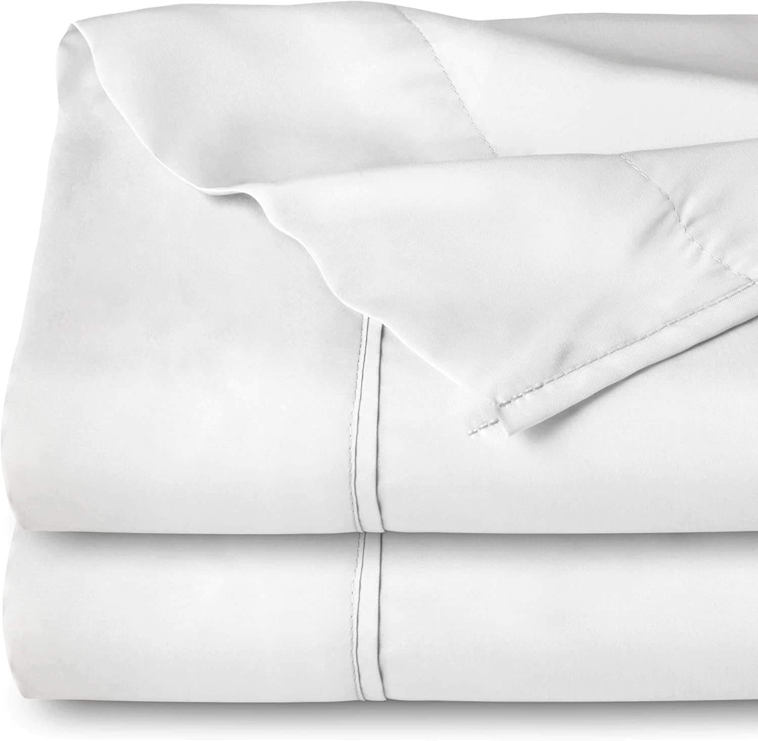 Bare Home Kids Flat Top Sheet Premium 1800 Ultra-Soft Microfiber Collection - Double Brushed, Hypoallergenic, Wrinkle Resistant, Easy Care (Twin/Twin Extra-Long - 2 Pack, White)