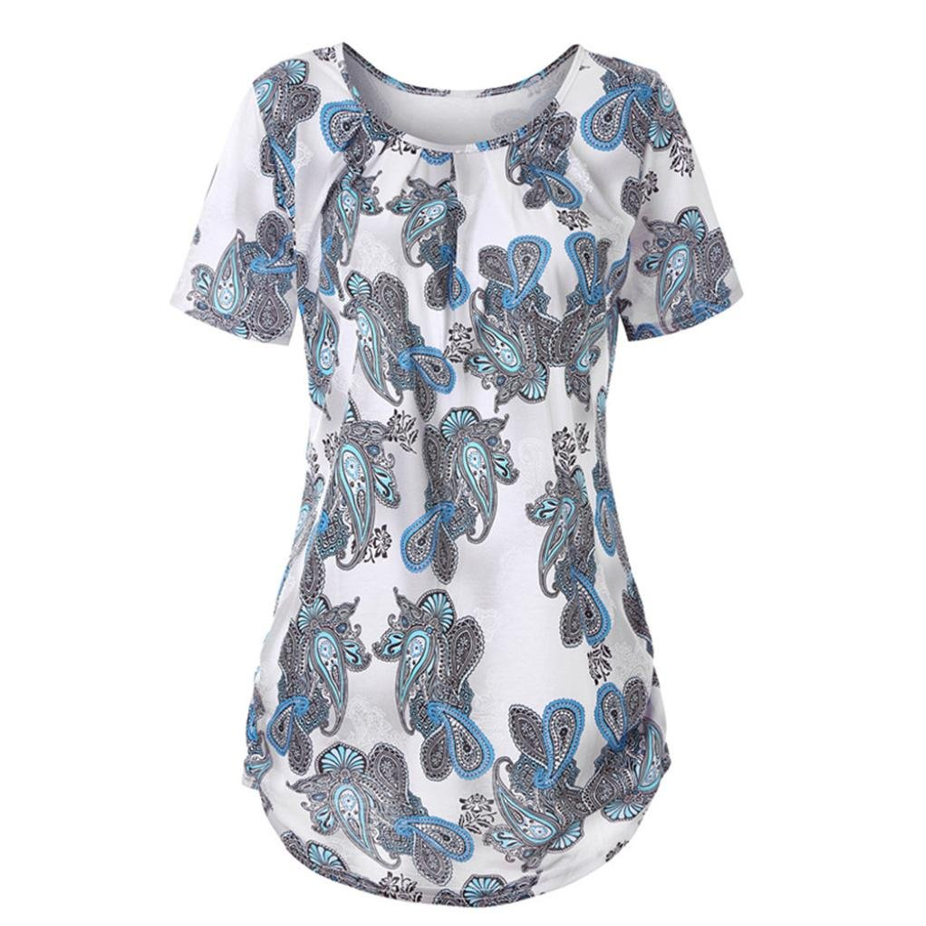 Ankola Blouse Top Clearance Sale Women Summer O Neck Floral Print Tunic High Low Hem Short Sleeve Blouse Shirt Tops (White, XL)