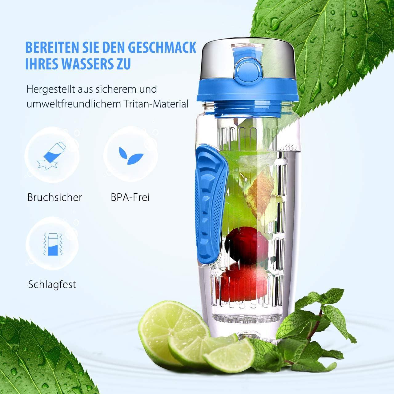 Obst Fruit Infuser Wasserflasche Auslaufsicher Sports Trinkflasche mit Flaschenb/ürste Fahrradflasche f/ür Sport B/üro OMORC Wasserflasche mit fruchteinsatz Trinkflasche 1L BPA-Frei mit Gel Freezer Ball