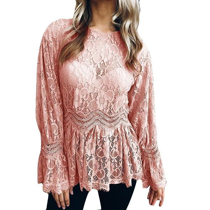 Blusas Mujer, ASHOP Casual Cordón O-Cuello Sudaderas Moda Elegantes Ropa en Oferta Camisetas Manga Larga Tops de Fiesta Abrigos Invierno de Mujer Otoño: ...