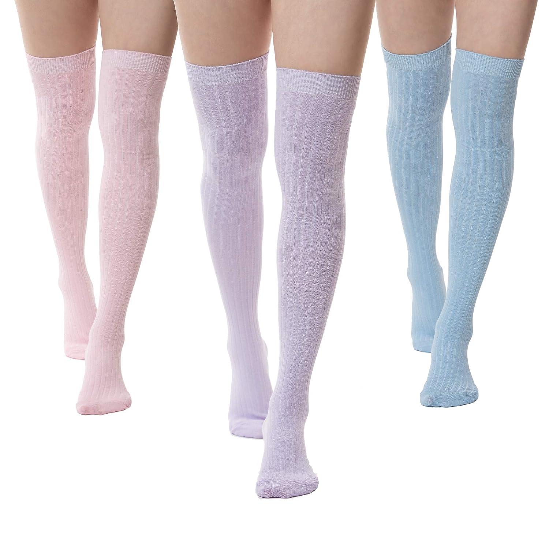 3 Thigh Length Socks Womens Striped Cotton Thigh High Tube Sock Girls Over Knee Boot Socks