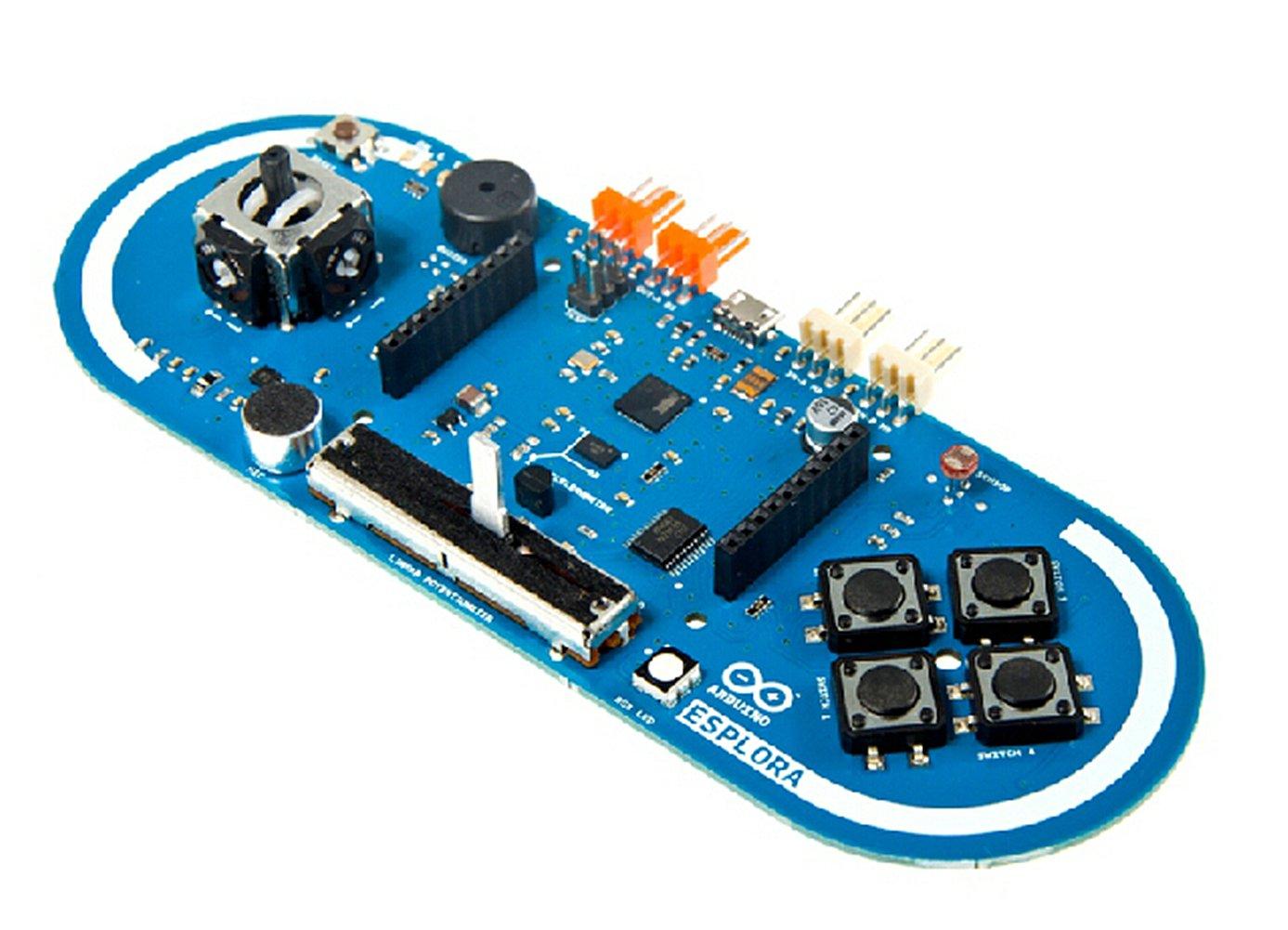 Arduino Esplora/The Esplora Has Onboard Sound And Light Outputs, And Several Input Sensors, Including A Joystick, A Slider, A Temperature Sensor, An Accelerometer, A Microphone, And A Light Sensor