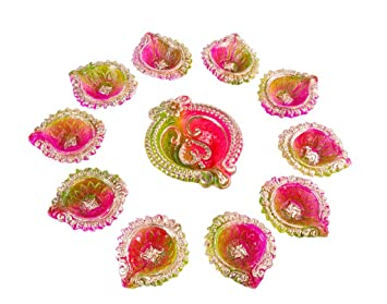 9f3a49d66 Buy DIWALI DESIGNER DIYA SET OF 11 WITH 1 LARGE AND 10 SMALL DIYAS Online  at Low Prices in India - Amazon.in