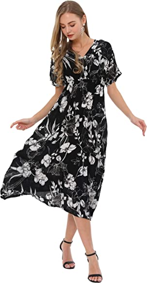 b398b3c6c3 Wantdo Women's V-Neck Maxi Dress Short Sleeve Floral Print Long Dresses for  Casual(