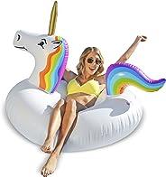 GoFloats Unicorn Piscina Flotador Tubo Fiesta - Arrastre Hinchable para Adultos y niños