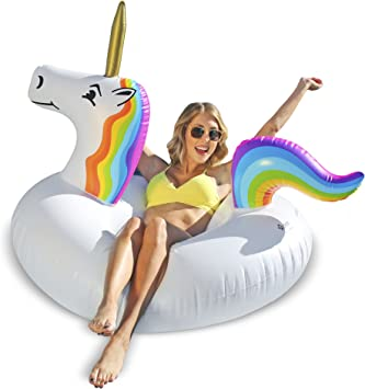 Amazon.com: GoFloats tubo inflable flotador unicornio para ...