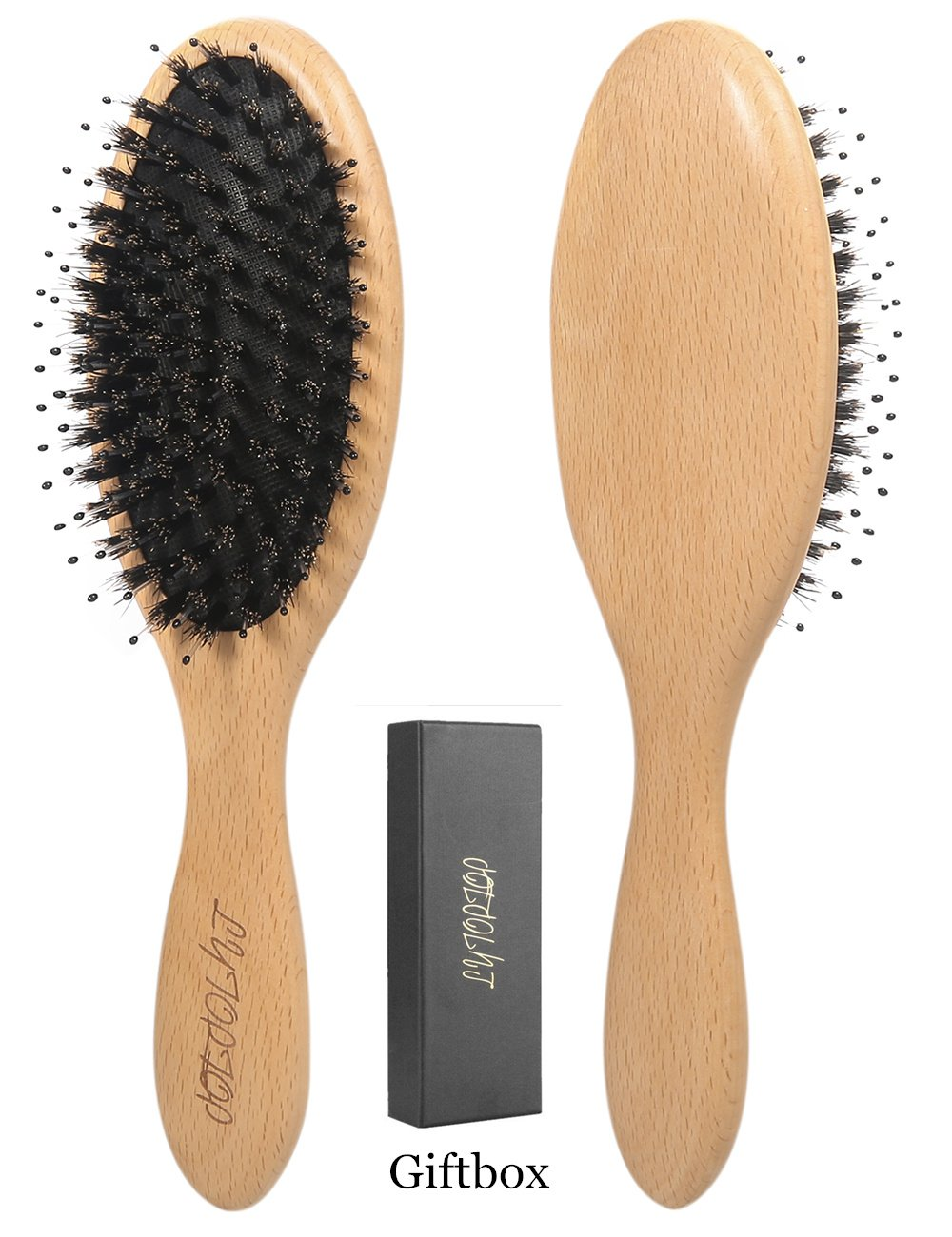 LYTOPTOP Boar Bristle Hair Brushes for Women and Men-Natural Beech Wooden Paddle Hairbrush Anti Static Designed to Adds Shine and Improves Hair Texture,Giftbox Inclued