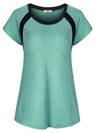 c7bfbb7b476 Amazon.com  Bobolink Women s Short Sleeve Yoga Tops Dri Fit Workout ...
