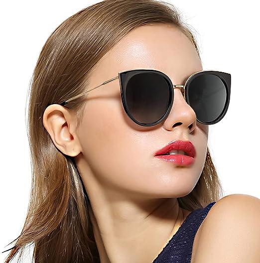 Sunglasses Womens Oversized Cat Eye Tan Frame Gold Mirror Lenses UV400