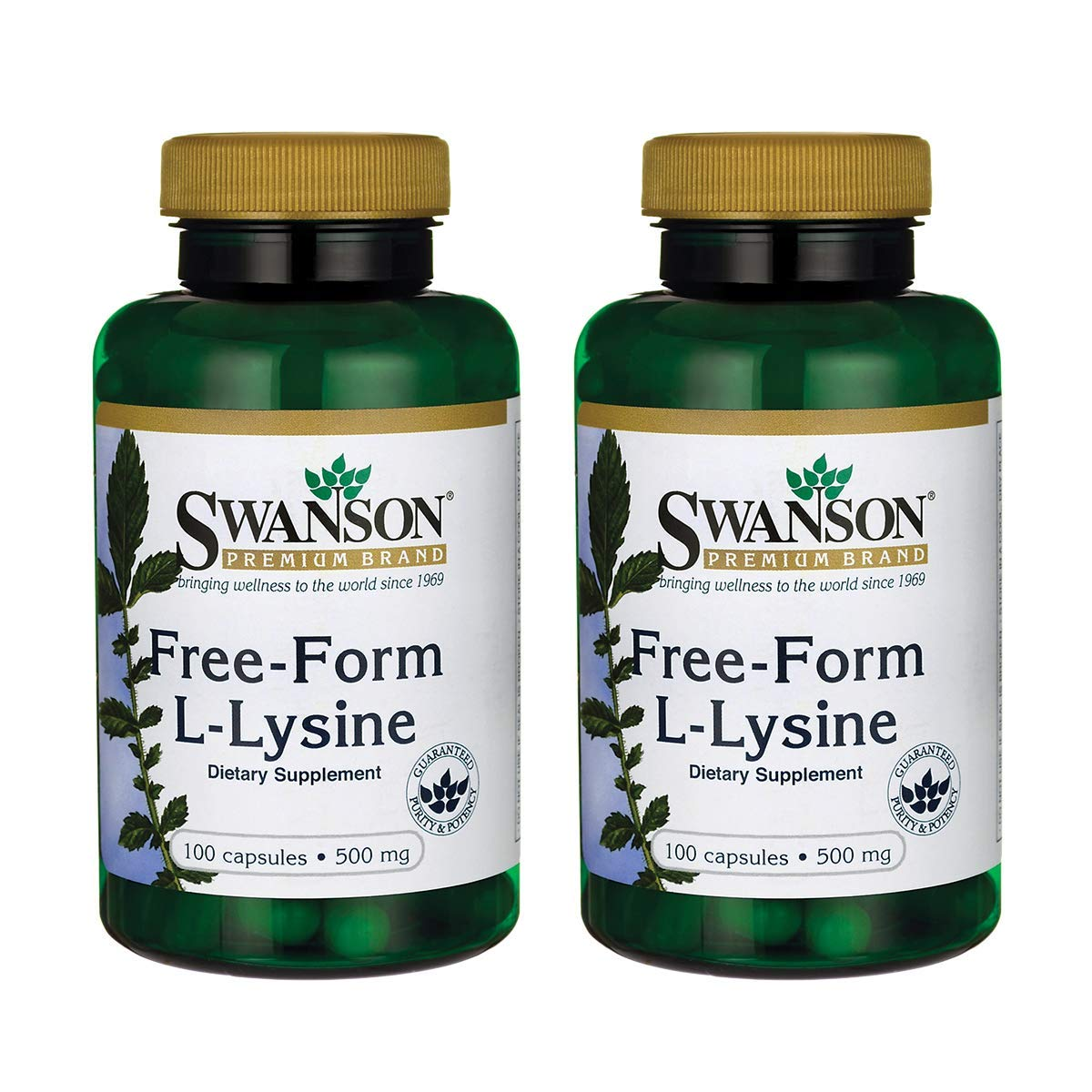 Swanson Amino Acid Free-Form L-Lysine 500 Milligrams 100 Capsules (2 Pack) by Swanson