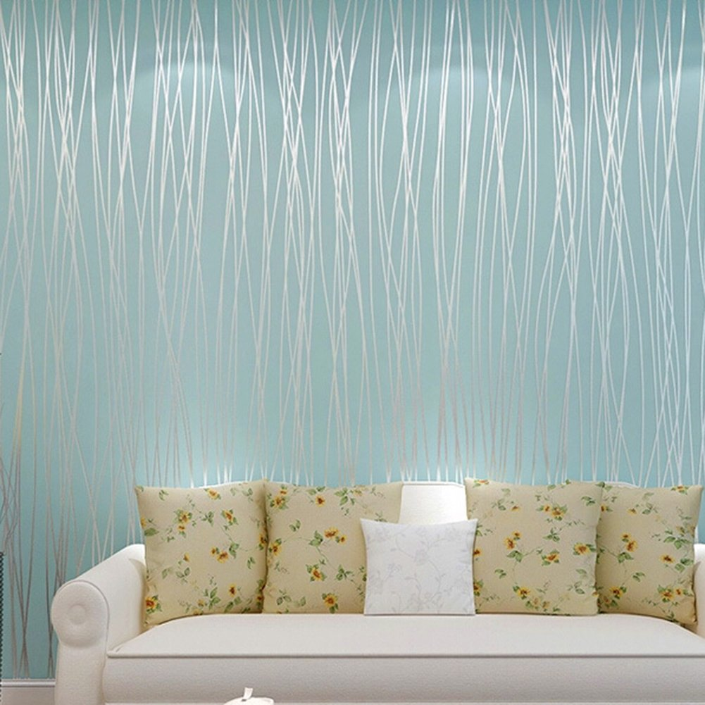 Bfeplfahion 10M Wallpaper Bedroom Living Room Modern Wall TV Background  Home Decor - Light Blue