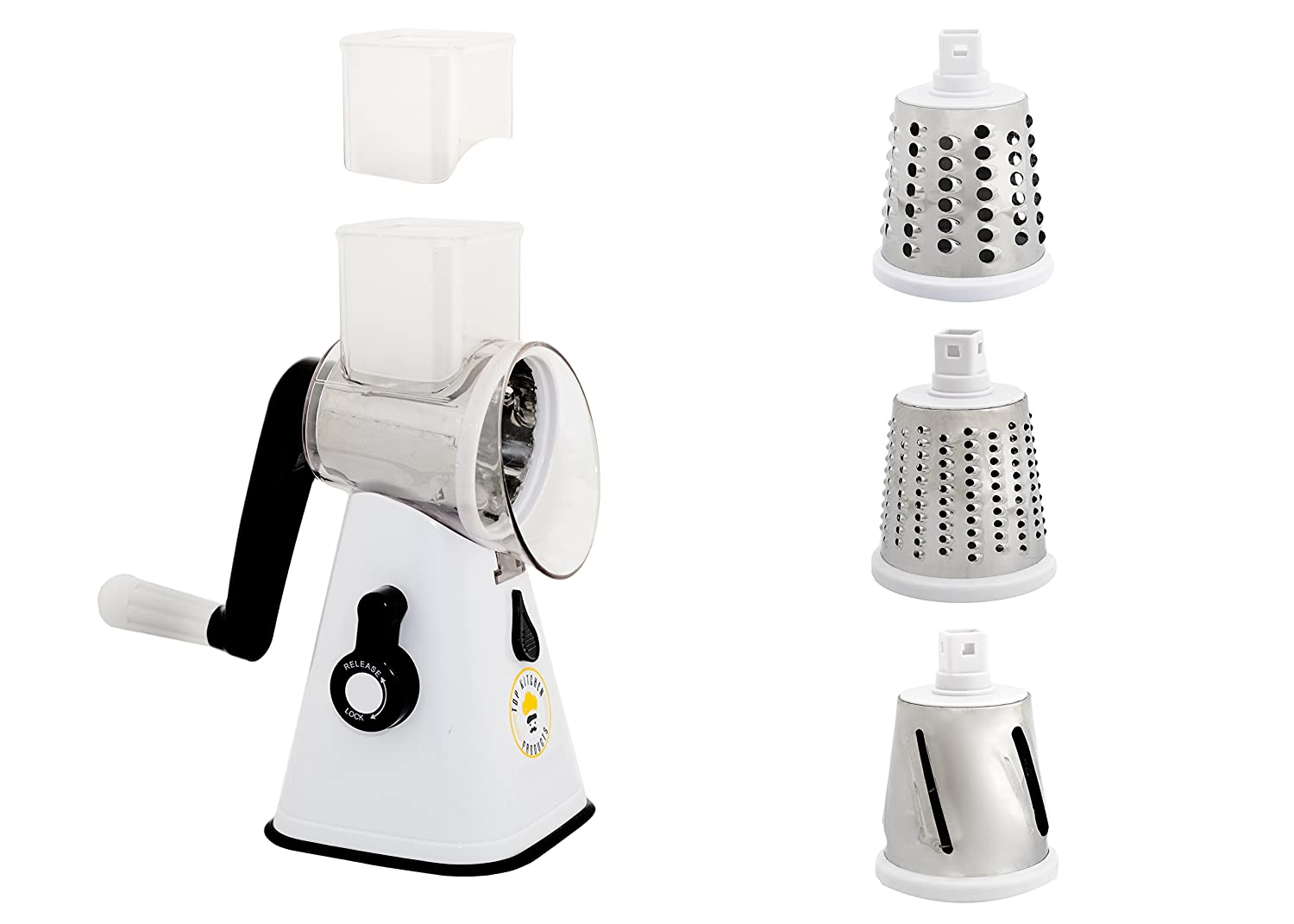 Premium nut chopper veggie slicer cheese shredder Vegetable Slicer Rotary Cheese Grater vegetable slicer nut grinder Rotary Mandoline Vegetable Shredder Rotary Grater Cabbage Shredder Veggie cutter Top Kitchen Products TKP-118
