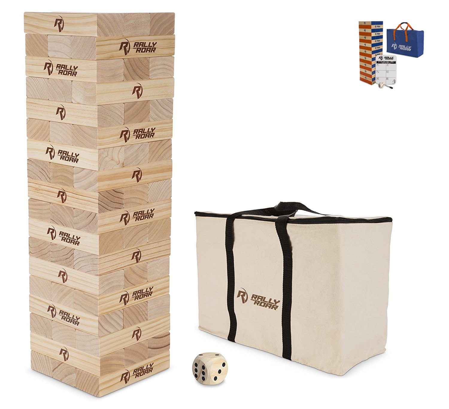Rally and Roar Toppling Tower Giant Tumbling Timbers Game 2.5 feet Tall (Build to Over 5 feet)– Classic Wood Version - for Adults, Kids, Family – Stacking Blocks Set w/Canvas Bag by Rally and Roar (Image #2)