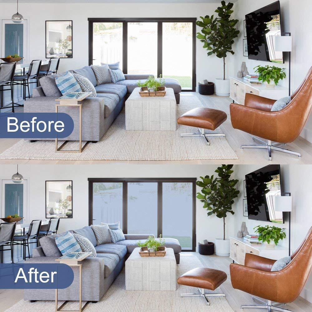 RABBITGOO One Way Window Film Anti UV Static Cling Window Film Removable Decorative Heat Control Privacy Glass Tint Home Office Windows(17.4'' x 78.7'',Sliver) by RABBITGOO (Image #9)