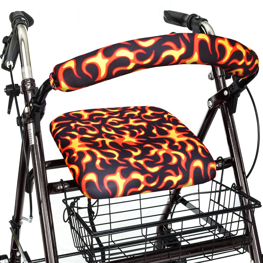 Top Glides Red Hot Flames Universal Rollator Walker Seat and Backrest Covers (Flames)