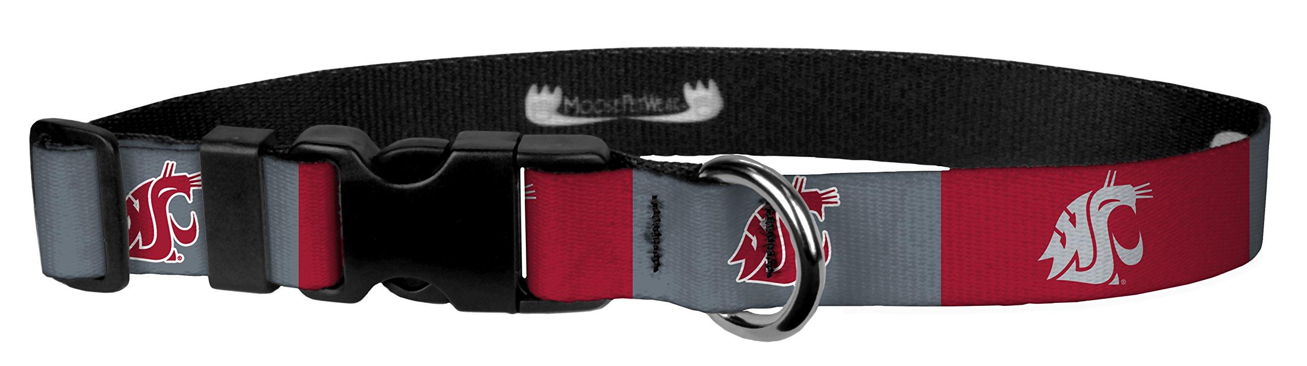 Moose Pet Wear Dog Collar - Washington State University Cougars Adjustable Pet Collars, Made in The USA - 1 Inch Wide, Large, Red/Gray Box Logo