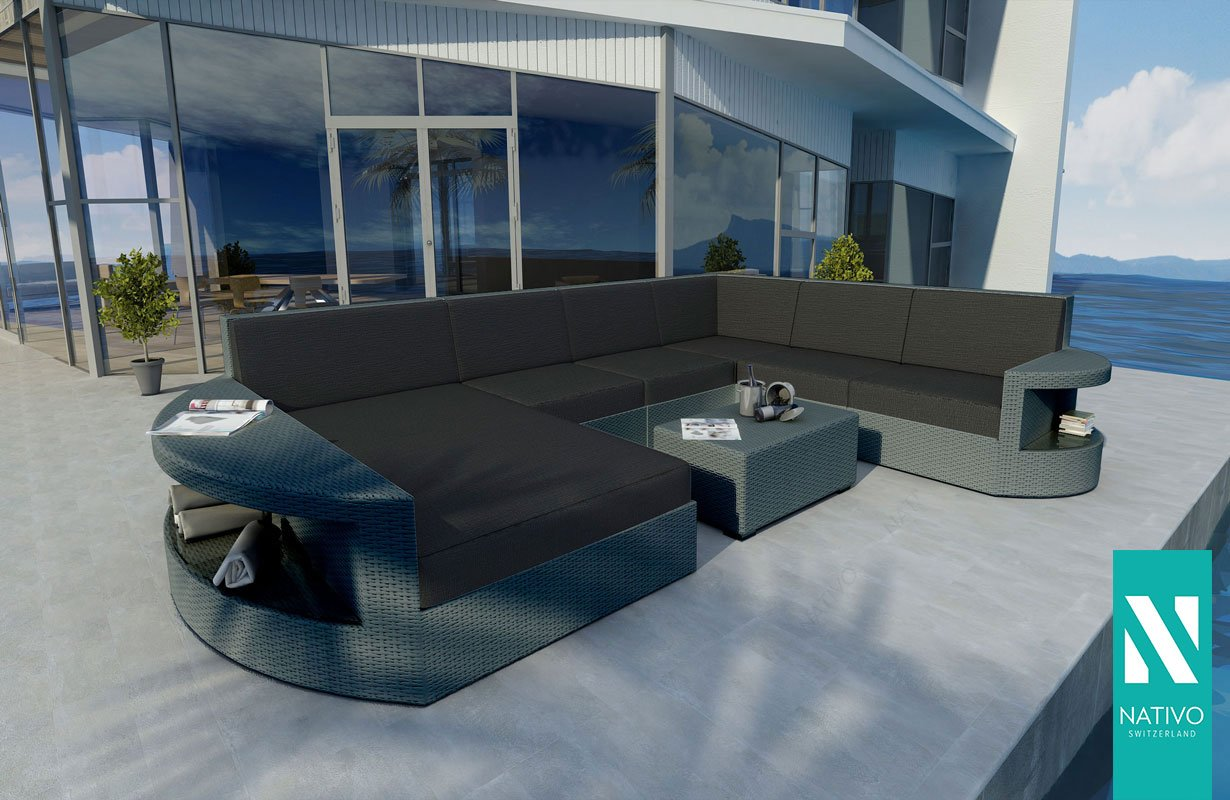 NATIVO© LUXUS RATTAN LOUNGE SOFA ATLANTIS XXL MIT LED LICHT Gartenmöbel  Lounge XXL OUTDOOR LOUNGE: Amazon.co.uk: Kitchen U0026 Home
