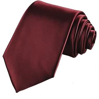 KissTies Solid Satin Tie Pure Color Necktie Mens Ties + Gift Box