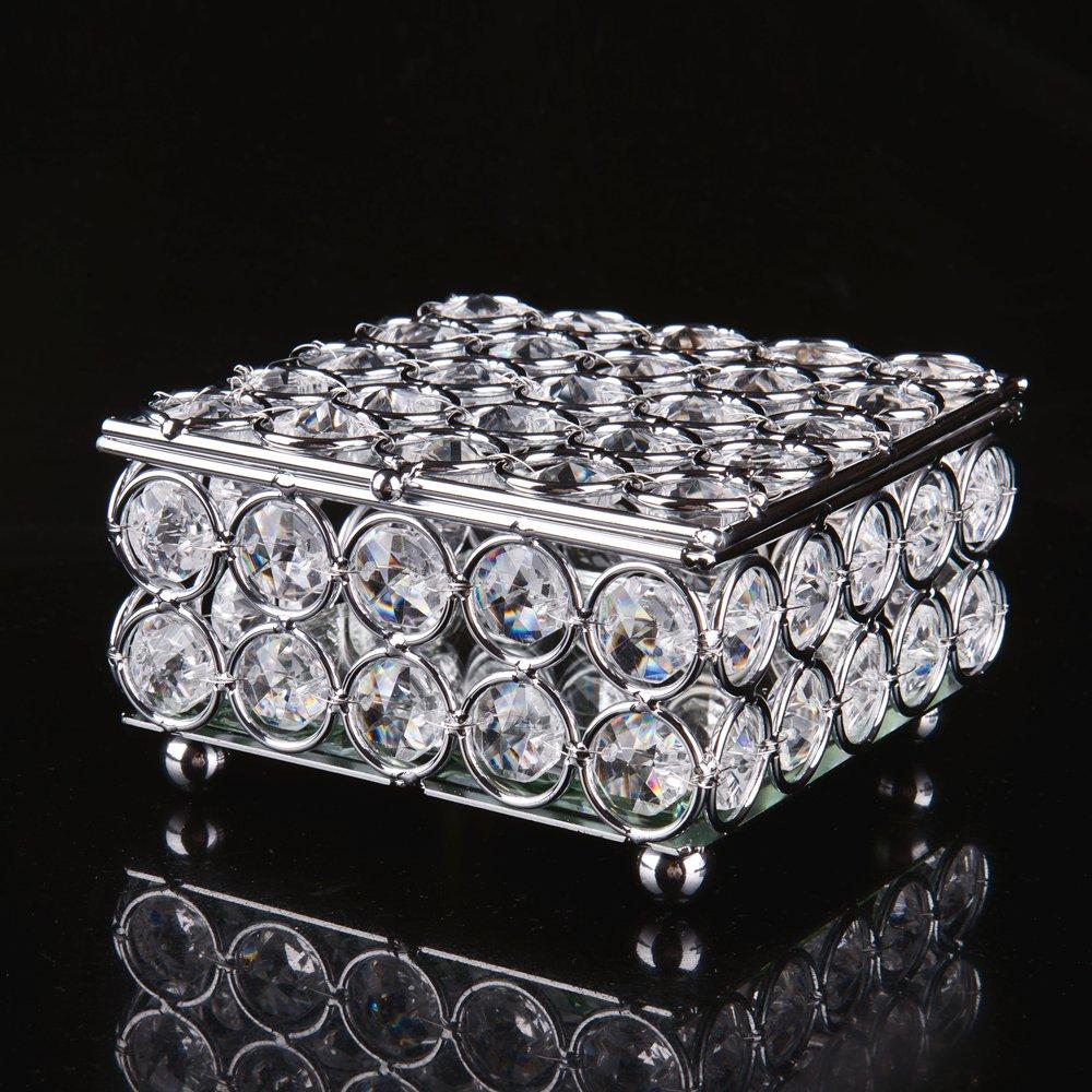 Argent Feyarl Cristal Bo/îte /à Bijoux Bo/îte de Rangement pour Perles /à Bijoux avec Miroir /à lint/érieur