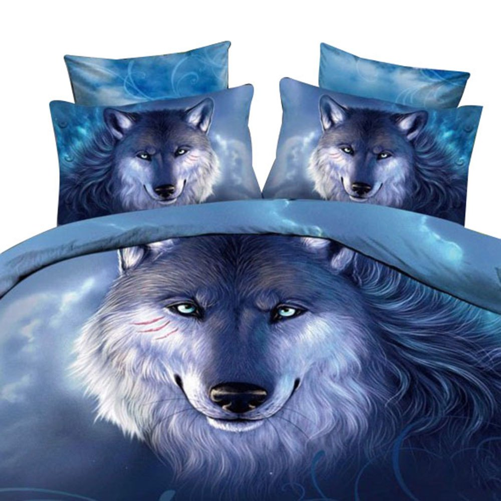 Ammybeddings 3D Blue Wolf Bedding Sets Twin,4 Piece 400 Thread Count 100% Cotton Duvet Cover Sets Twin Blue,Christmas Gift Home Decoration