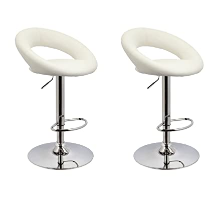 Terrific Bar Stool Set Of 2 Wy 171B Crescent Adjustable Bar Stools With Faux Leather Seat Duhome White Uwap Interior Chair Design Uwaporg