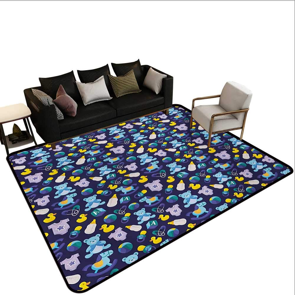 Home Custom Floor mat,Children Toys Pattern with Rubber Duck Teddy Bear Beach Ball and Rocking Horse 6'6''x9',Can be Used for Floor Decoration