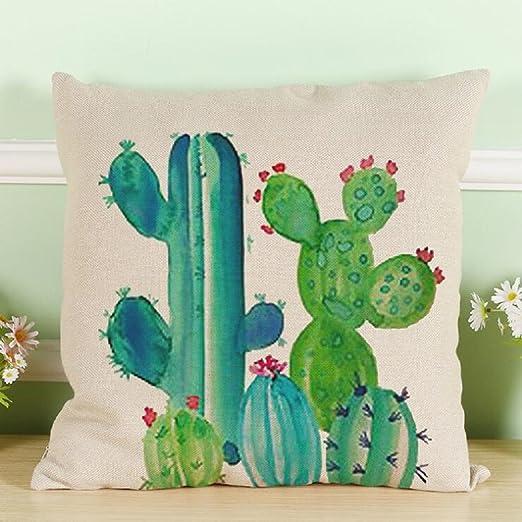 Fundas de Cojines, Toifucos Funda de Cojín Vintage Cactus Algodón Lino Funda de Almohadas pare Casa Sofá Decorativos