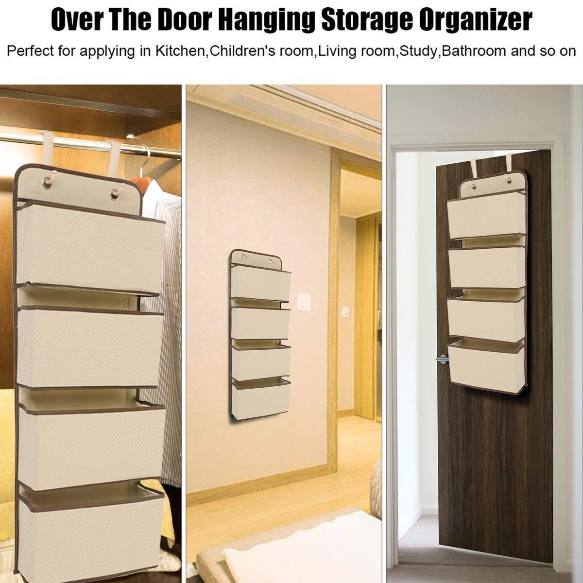 4-Pocket Hanging Wall Organizer in Grey Color Mangotree Hanging Shelves