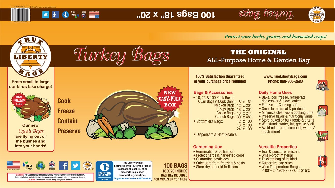 True Liberty Bags Turkey 100 Pack All Purpose Home and Garden Bags, Clear
