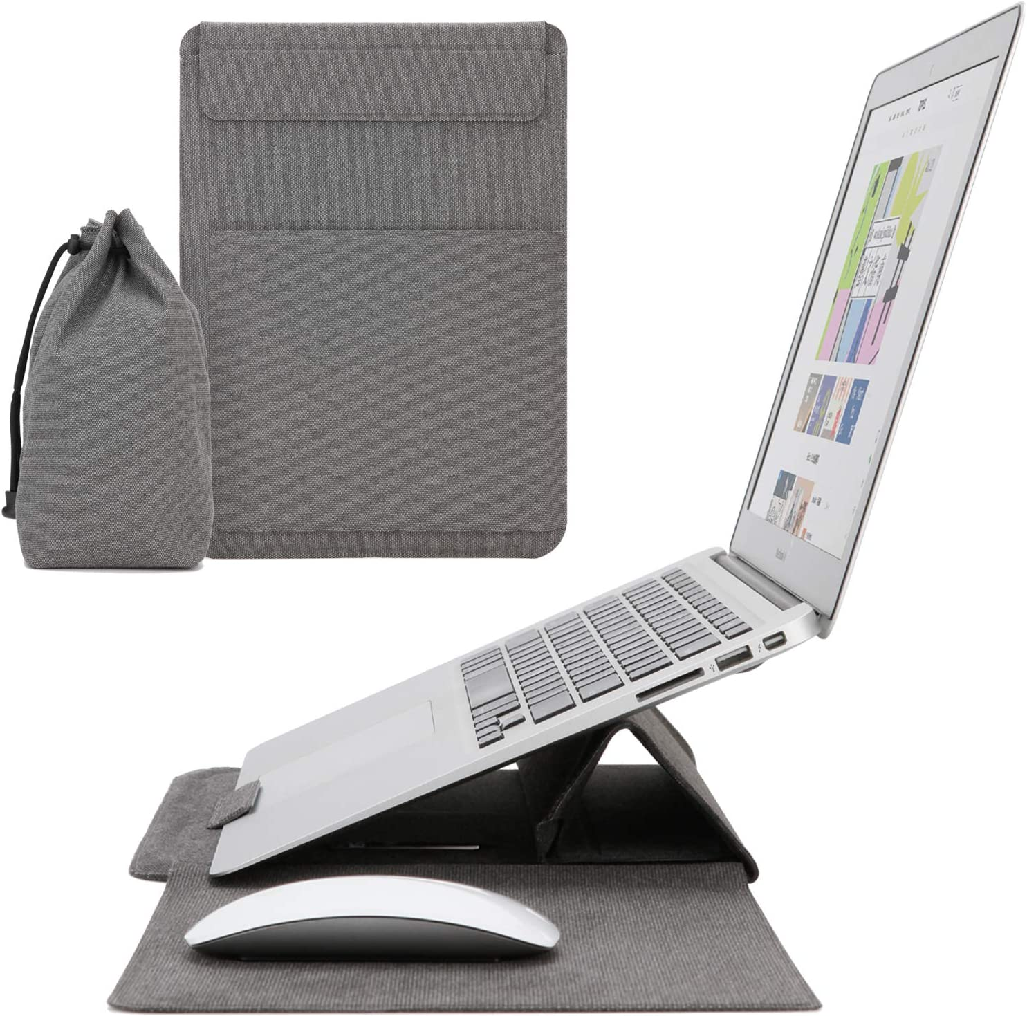 IMMOOWWI 13 inch Laptop Sleeve with Stand and Mouse Pad, Waterproof Shock Resistant Foldable Case for 13-13.3 inch MacBook Air/Pro, Dell XPS 13 Lenovo ThinkPad X1 Carbon HP/Acer Chromebook 13, Gray