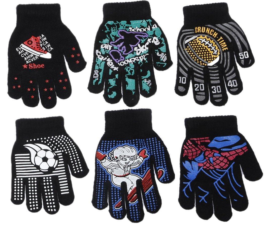 Gilbin Magic-Stretch Gripper Glove, Kids Size, Colorful Set, 6 Pair 6 Pair (Boys)