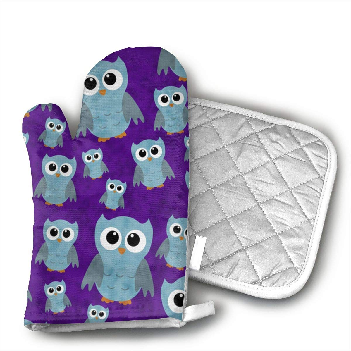 GDSJHVJNK ghhg Sky Owl Hand Drawn Oven Glove Heat Resistant Cooking Glove, Include A Insulated Glove and A Insulation Pad.