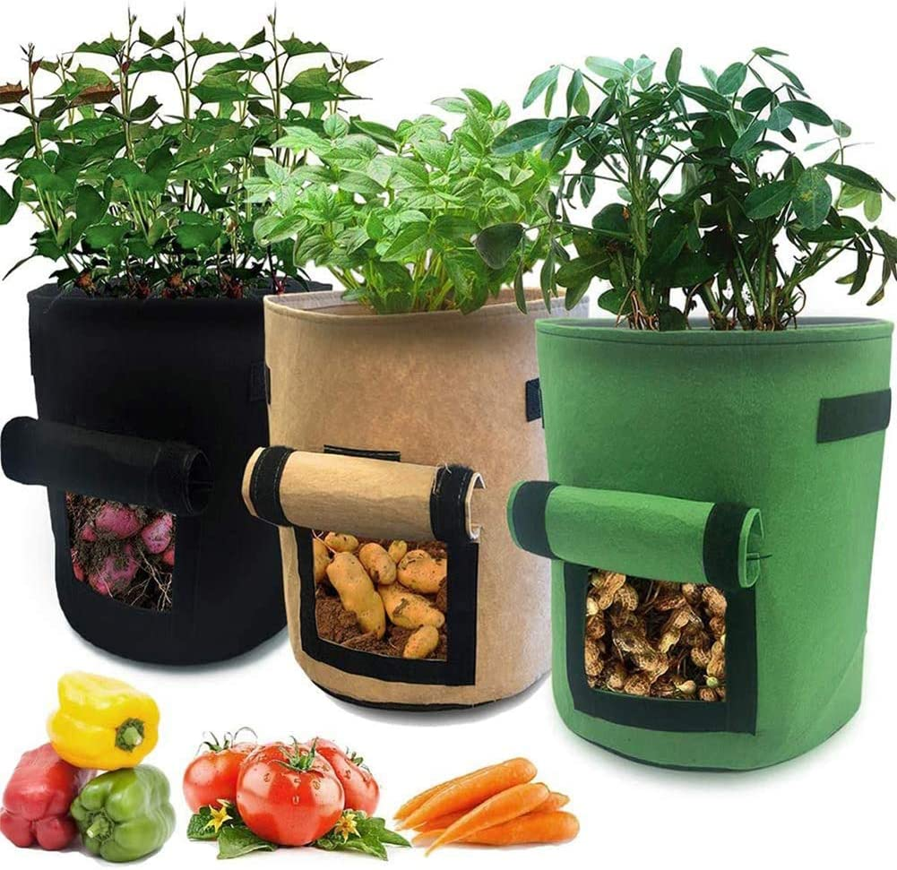 MEILIS Potato Grow Bags Garden Planting Grow Bags with Handles and Large Harvest Window Thickened Vegetables Growing Bags Reusable 10 Gallon Planter Bag, 3 Pack, Brown+Green+Black (10 Gallon 3 Pack)