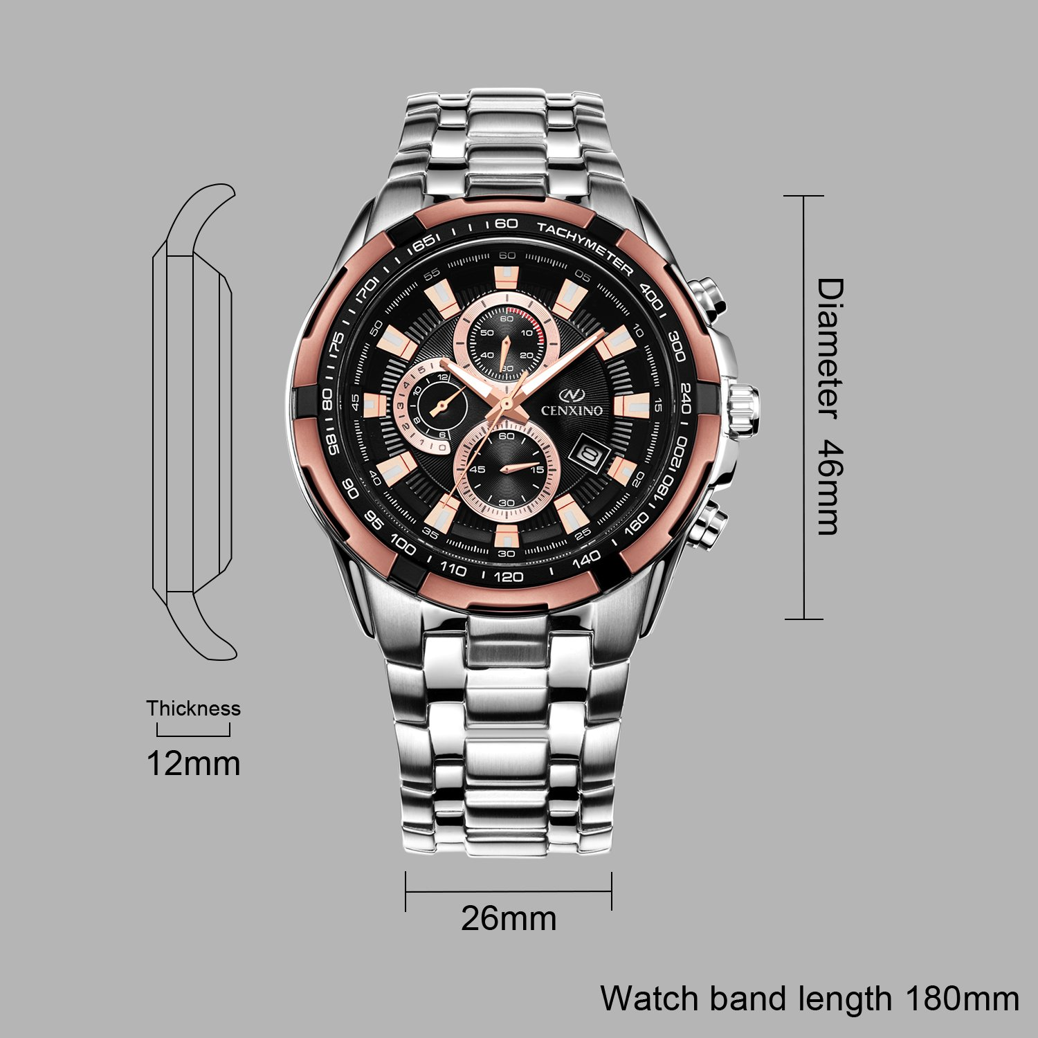 Amazon.com: Cenxino Mens Rose Gold Chronograph Watches With Date Analog and Stainless Steel Bracelet: Watches