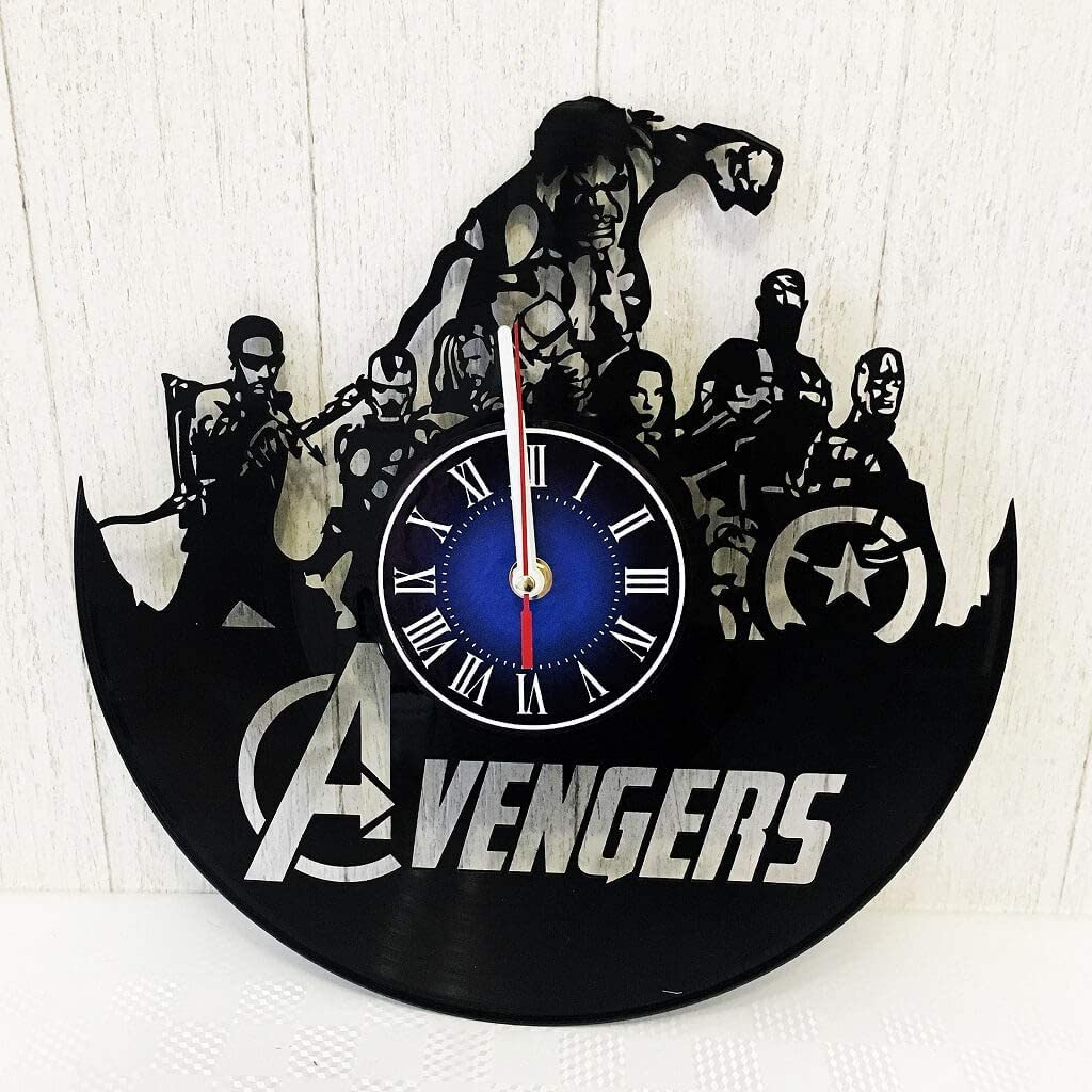 Avengers 12 inches / 30 cm Vinyl Record Wall Clock | Gift for Geeks, Teens, Boys and Girls | Marvel Comics Decor | Captain America | Iron Man