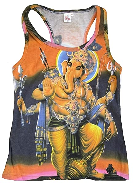 TICILA Mujer Tank Top Camiseta Naranja Hindu Deity God Lord Ganesh Ganesha Psychodelic Goa Trance DJ