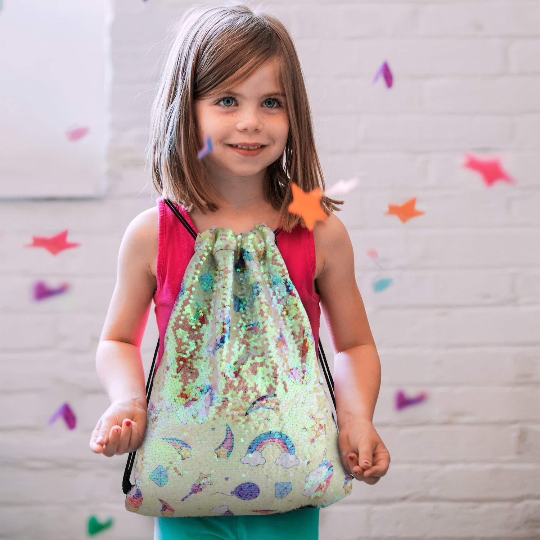 Mermaid Reversible Sequin Drawstring Backpack//Bag Blue//Pink for Kids Girls
